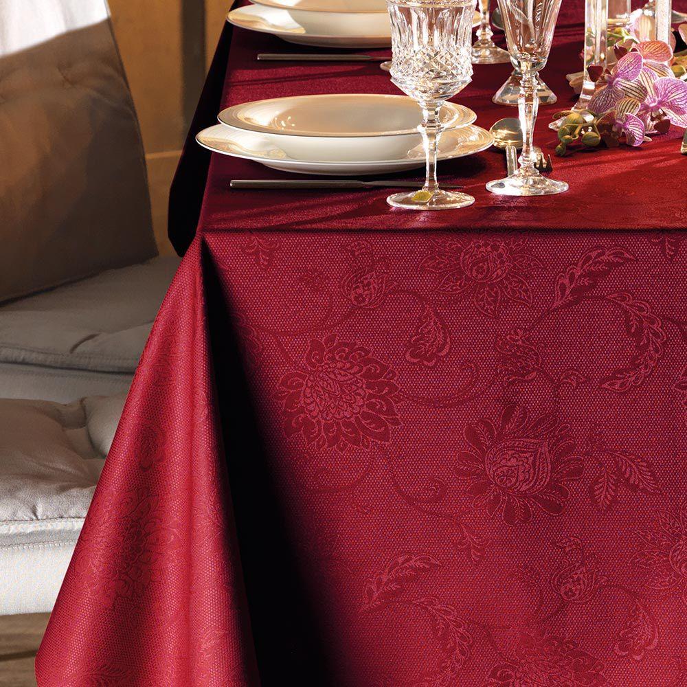 Toalha de Mesa Karsten Quadrada 8 Lugares 180x180cm Celebration Sienna Vermelha
