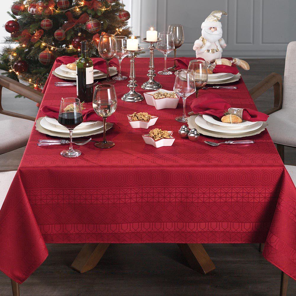 Toalha de Mesa Karsten Quadrada 8 Lugares Natal Venturini Vermelho
