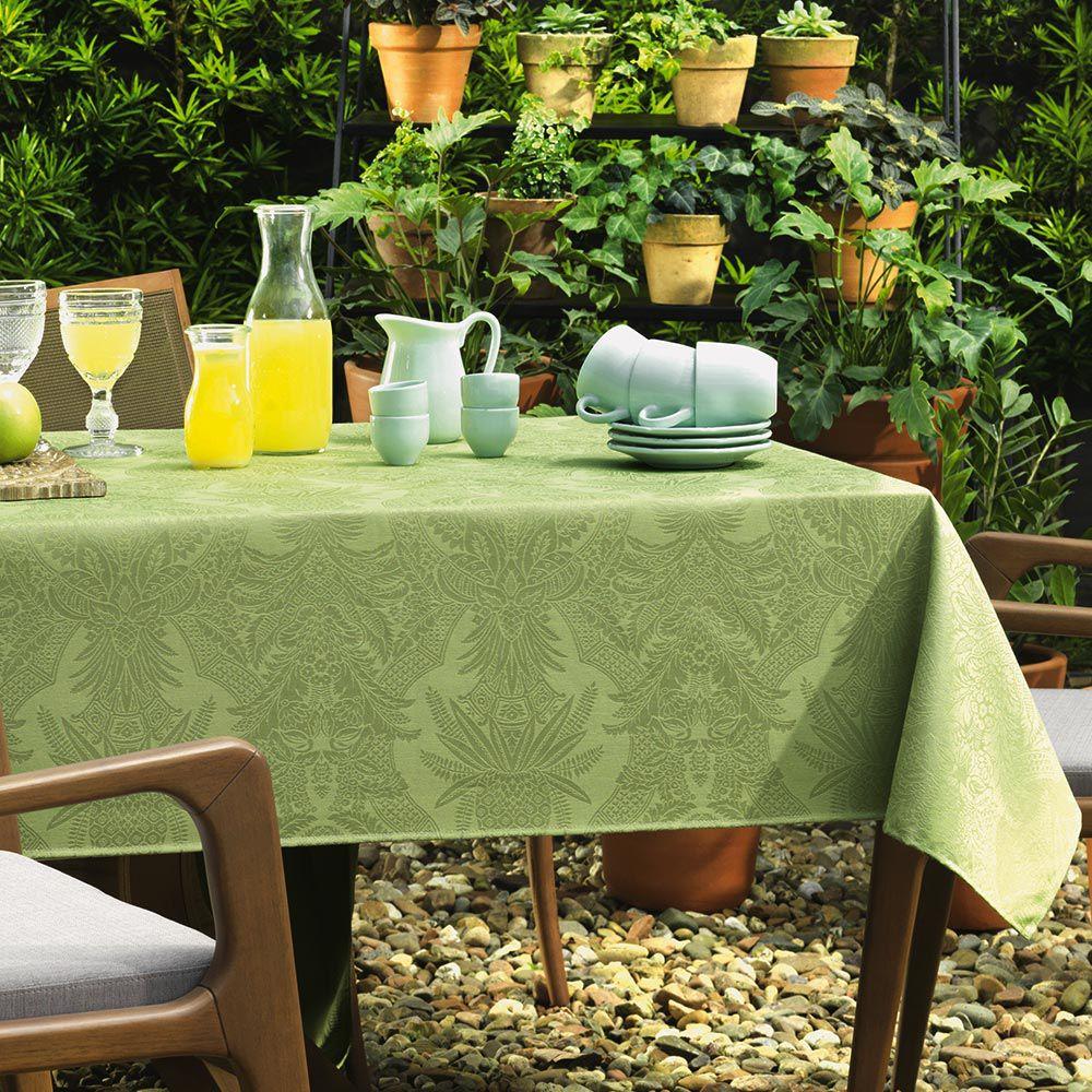 Toalha de Mesa Karsten  Quadrada 8 Lugares Sempre Limpa Tropical Verde