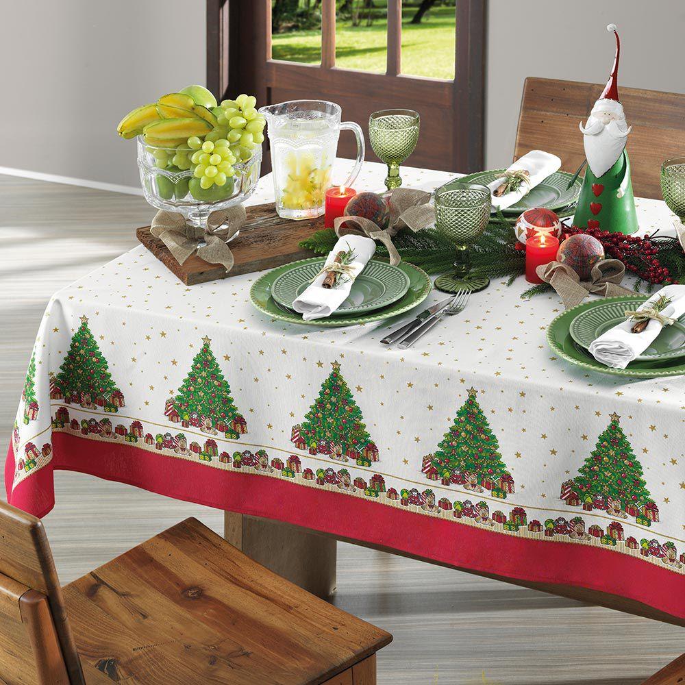 Toalha de Mesa Karsten Redonda 4 Lugares Dia a Dia Natal Tempo de Reviver