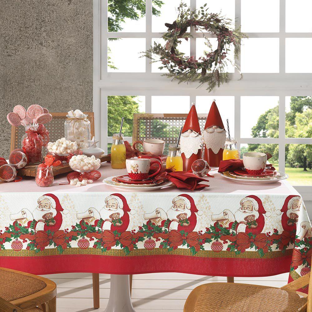 Toalha de Mesa Karsten Redonda 4 Lugares Dia a Dia Natal Tempo de Sonhar