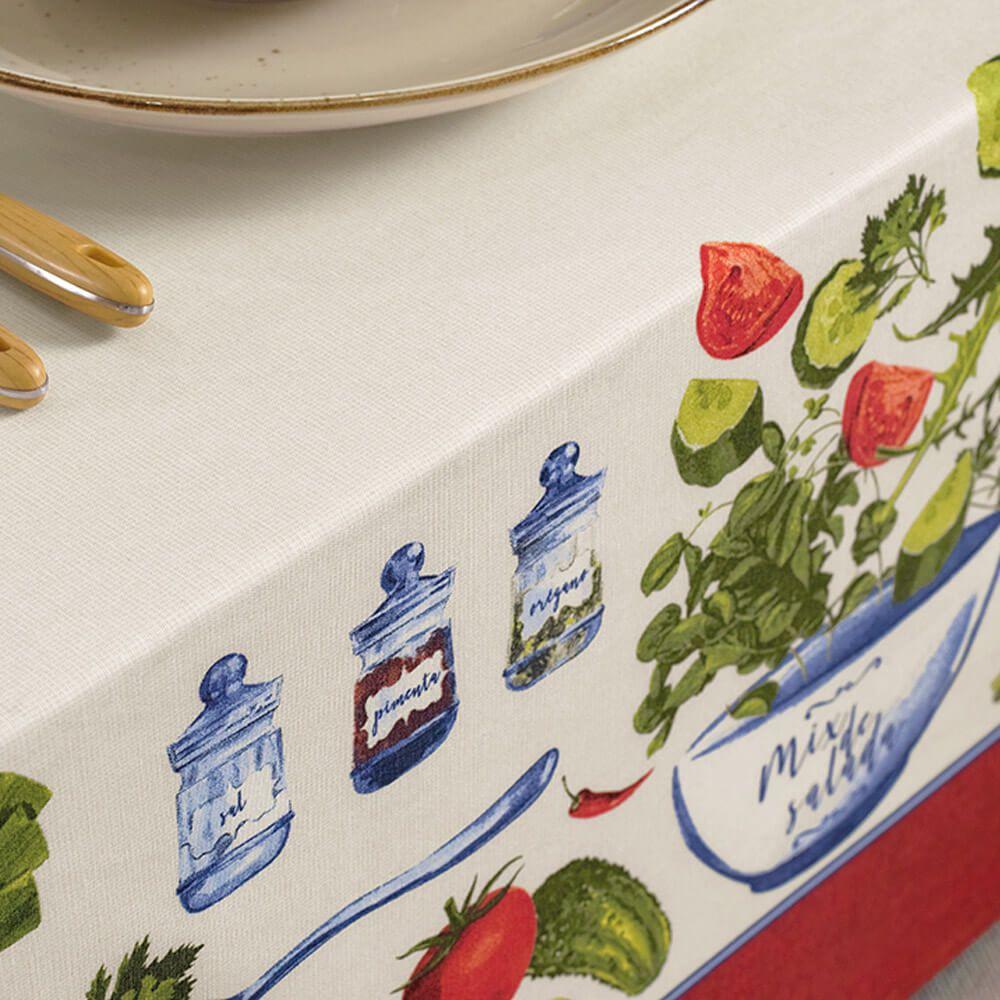 Toalha de Mesa Karsten Redonda 4 Lugares Limpa Fácil Salada