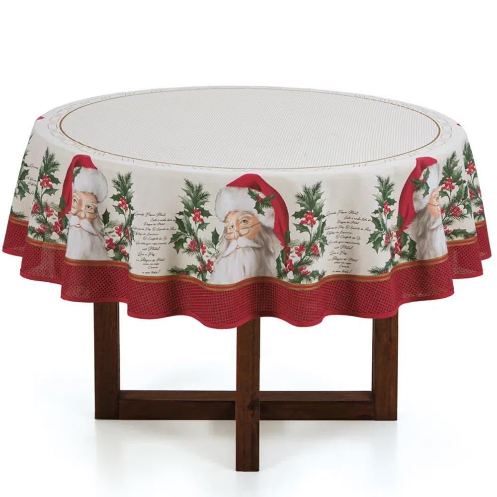 Toalha de Mesa Karsten Redonda 4 Lugares Natal São Nicolau