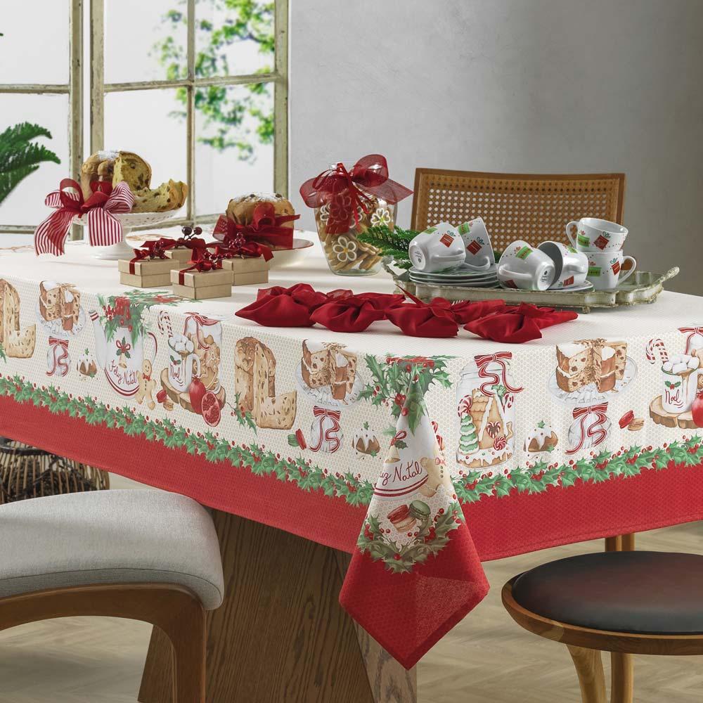 Toalha de Mesa Karsten Redonda 4 Lugares Natal Segredos de Receita