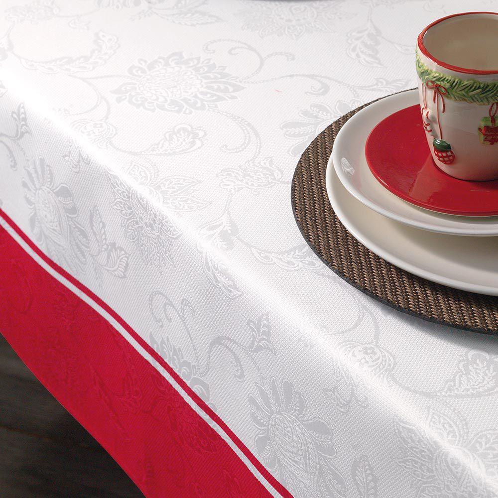 Toalha de Mesa Karsten Redonda 6 Lugares Natal Tempo de Reunir