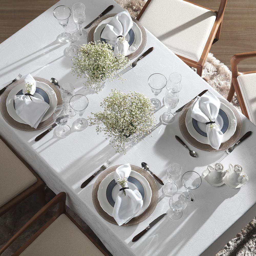 Toalha de Mesa Karsten Retangular 12 Lugares Celebration Sienna Branca