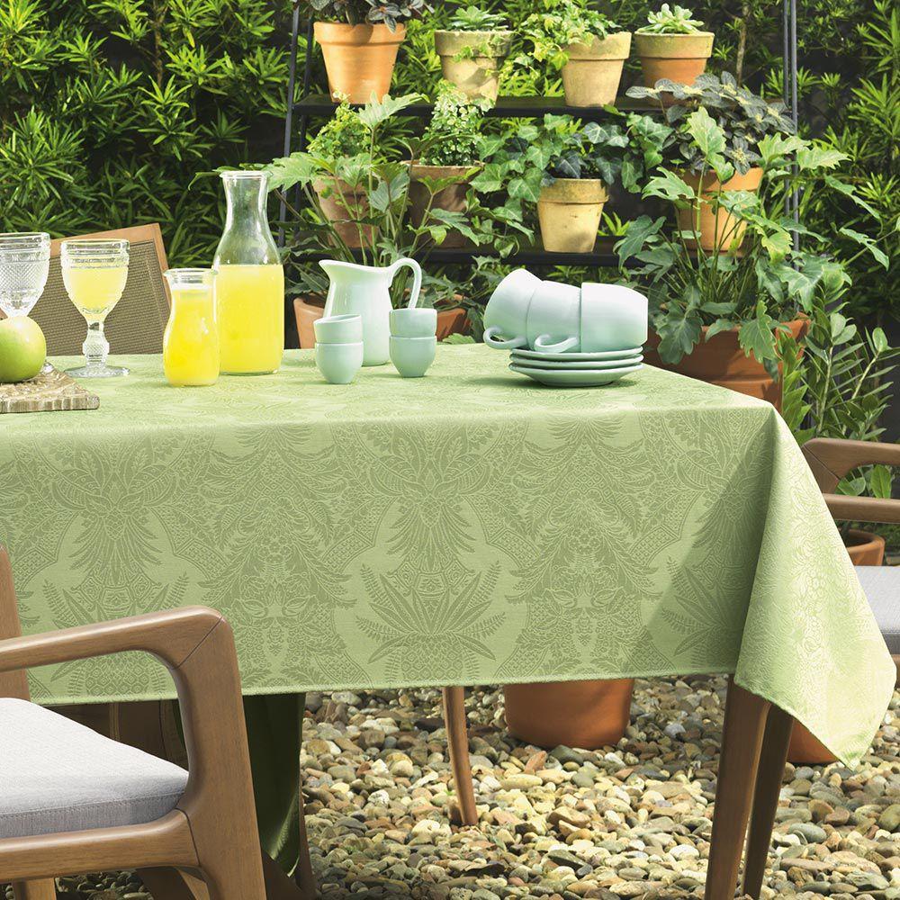 Toalha de Mesa Karsten Retangular 12 Lugares Sempre Limpa Tropical Verde