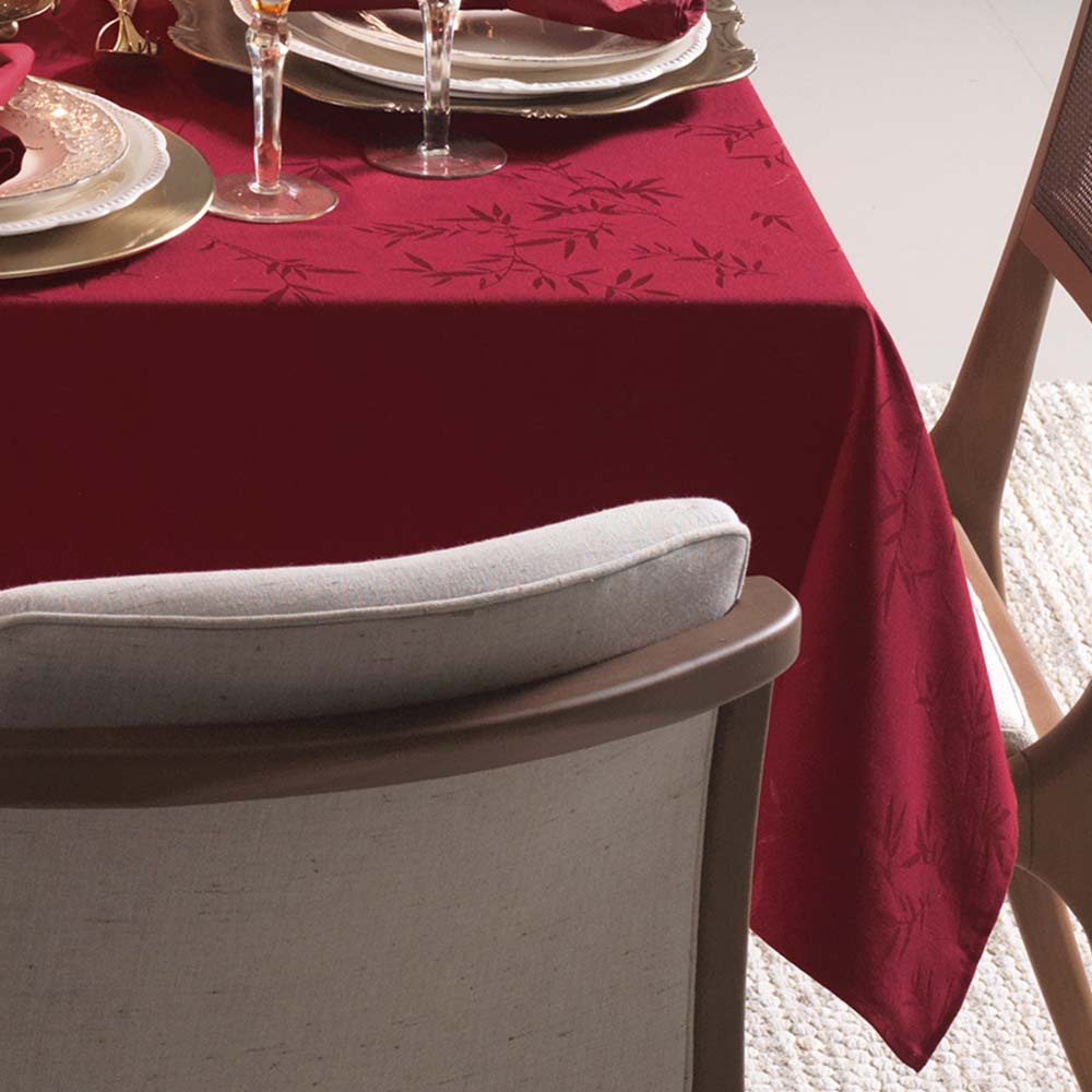 Toalha de Mesa Karsten Retangular 6 Lugares Celebration Verissimo Vermelho
