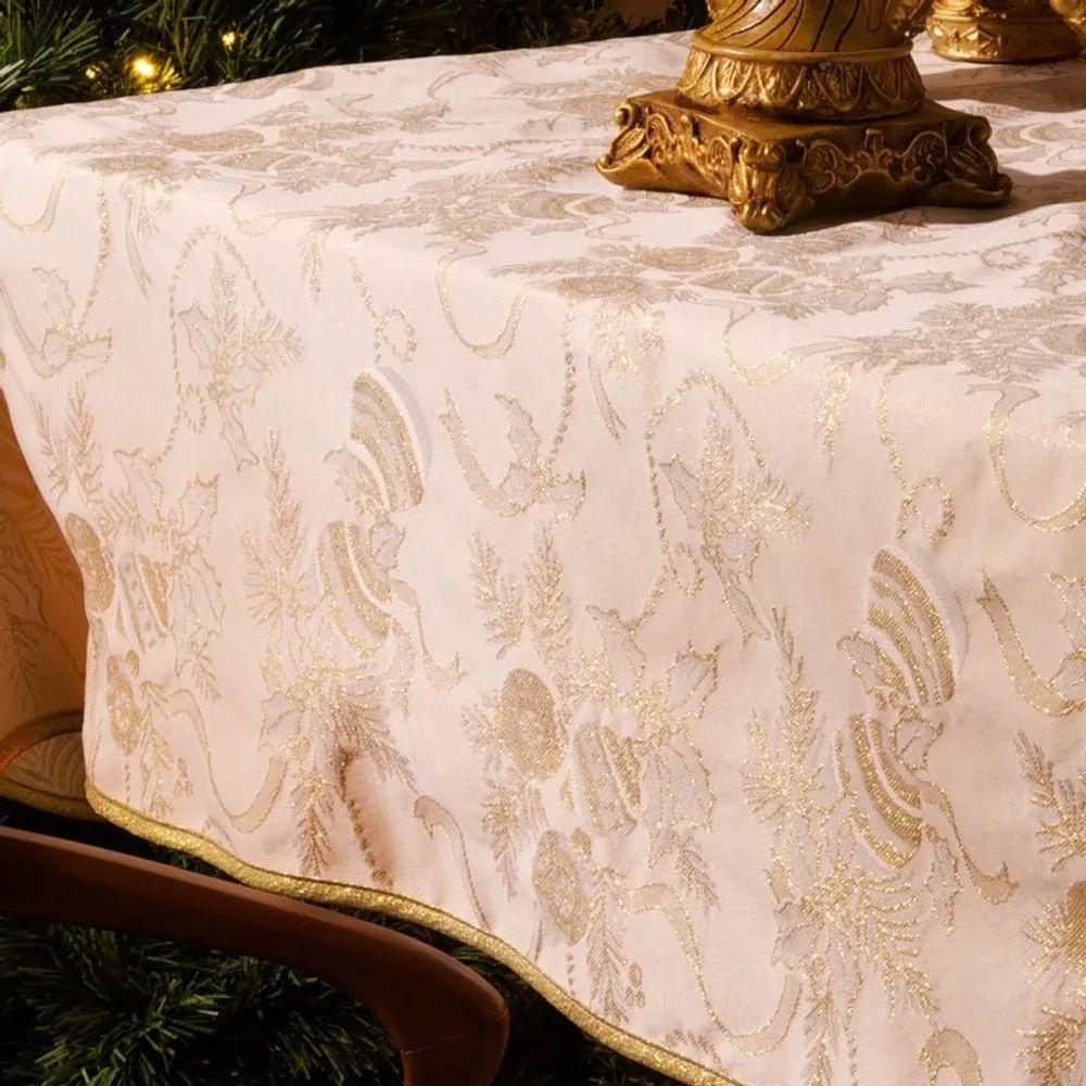 Toalha de Mesa Karsten Retangular 6 Lugares Natal Golden Fitas
