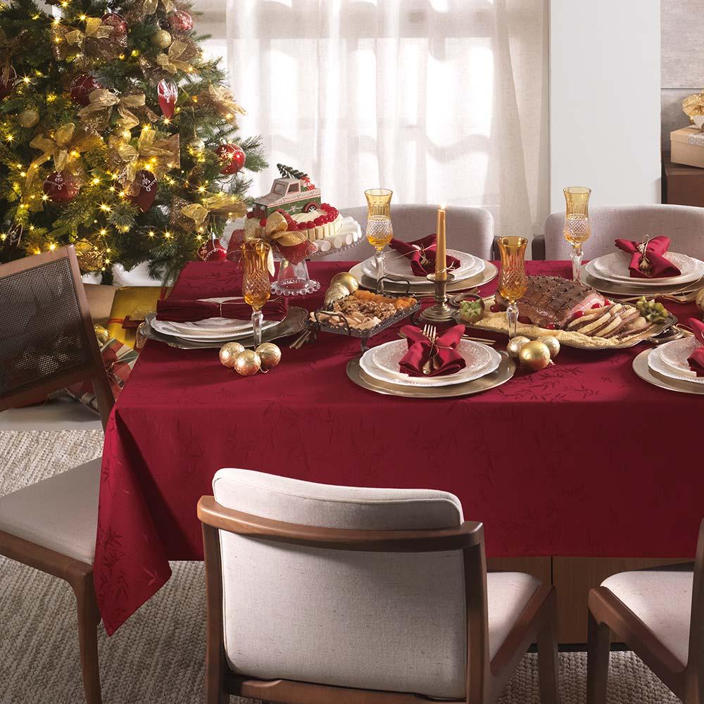 Toalha de Mesa Karsten Retangular 8 Lugares Celebration Verissimo Vermelho