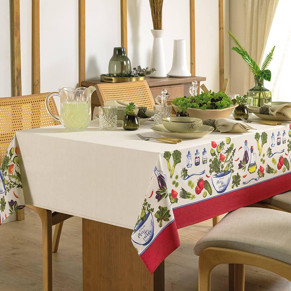 Toalha de Mesa Karsten Retangular 8 Lugares Limpa Fácil Salada