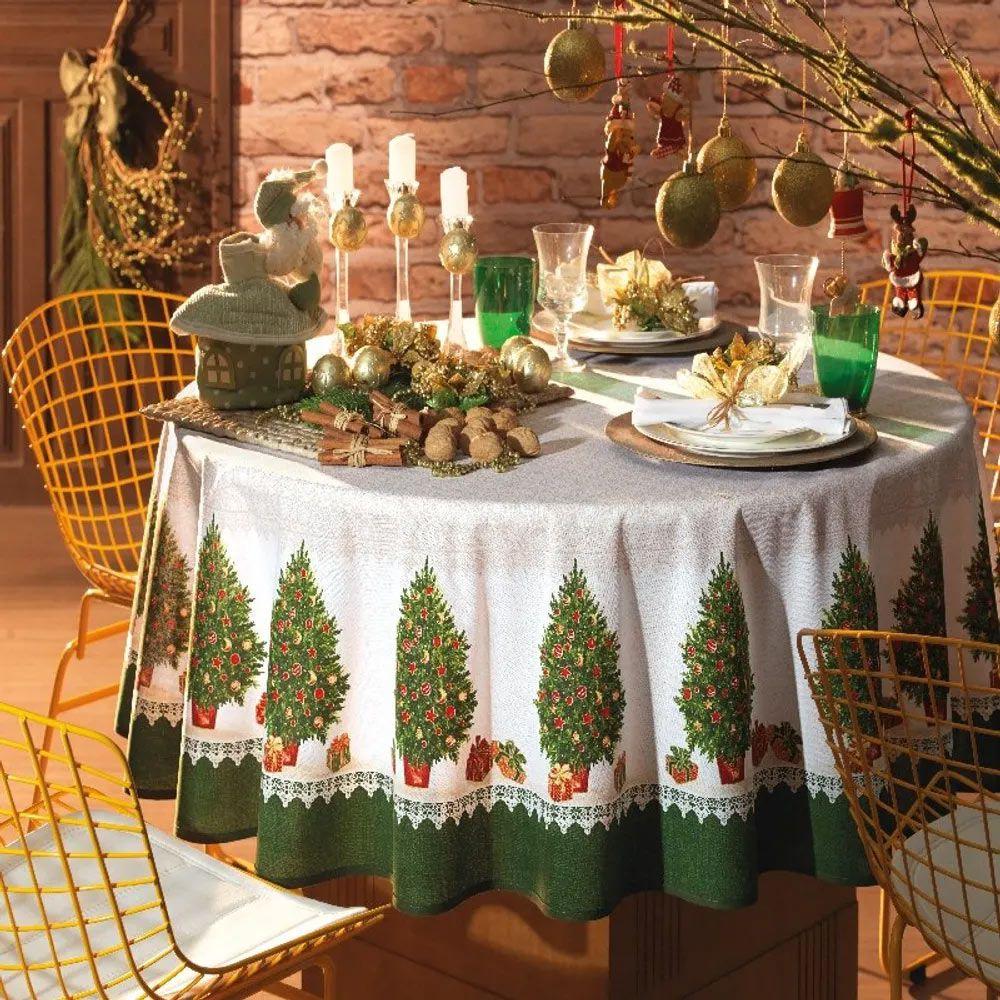 Toalha de Mesa Karsten Retangular 8 Lugares Natal Rendata