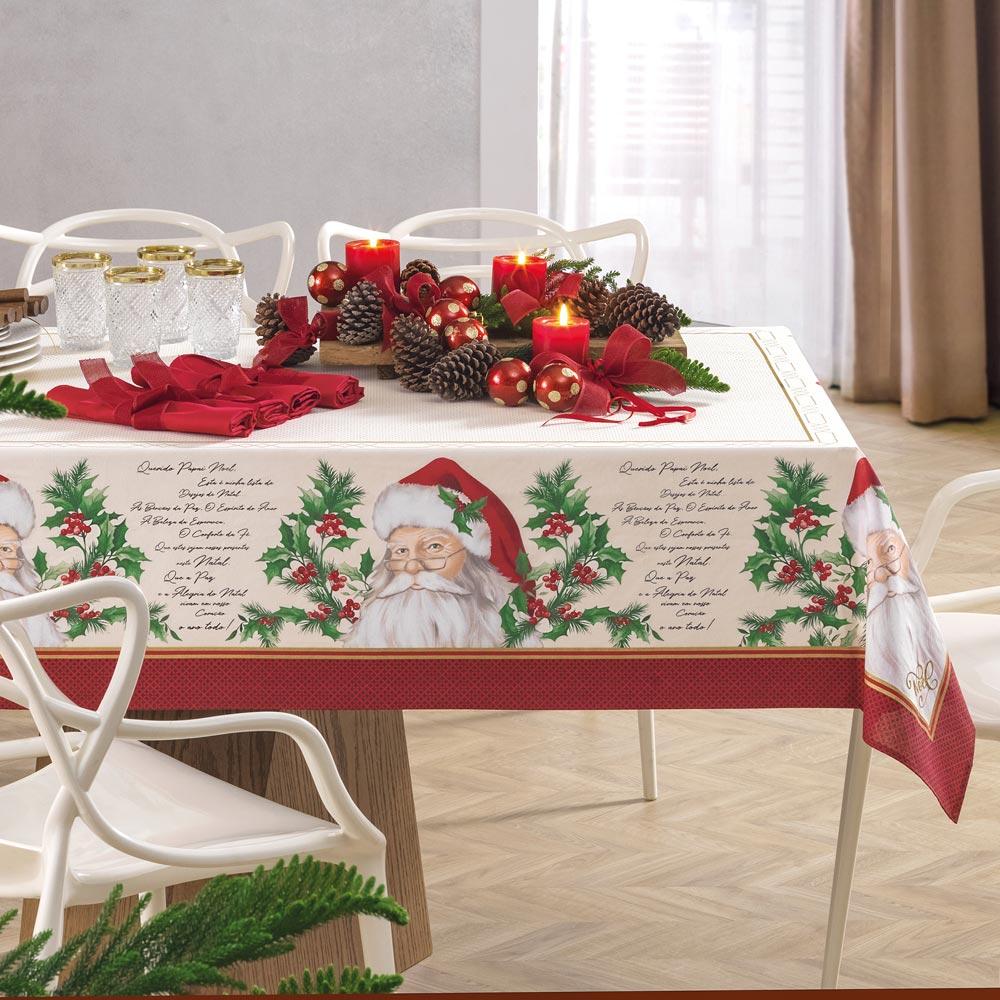 Toalha de Mesa Karsten Retangular 8 Lugares Natal São Nicolau