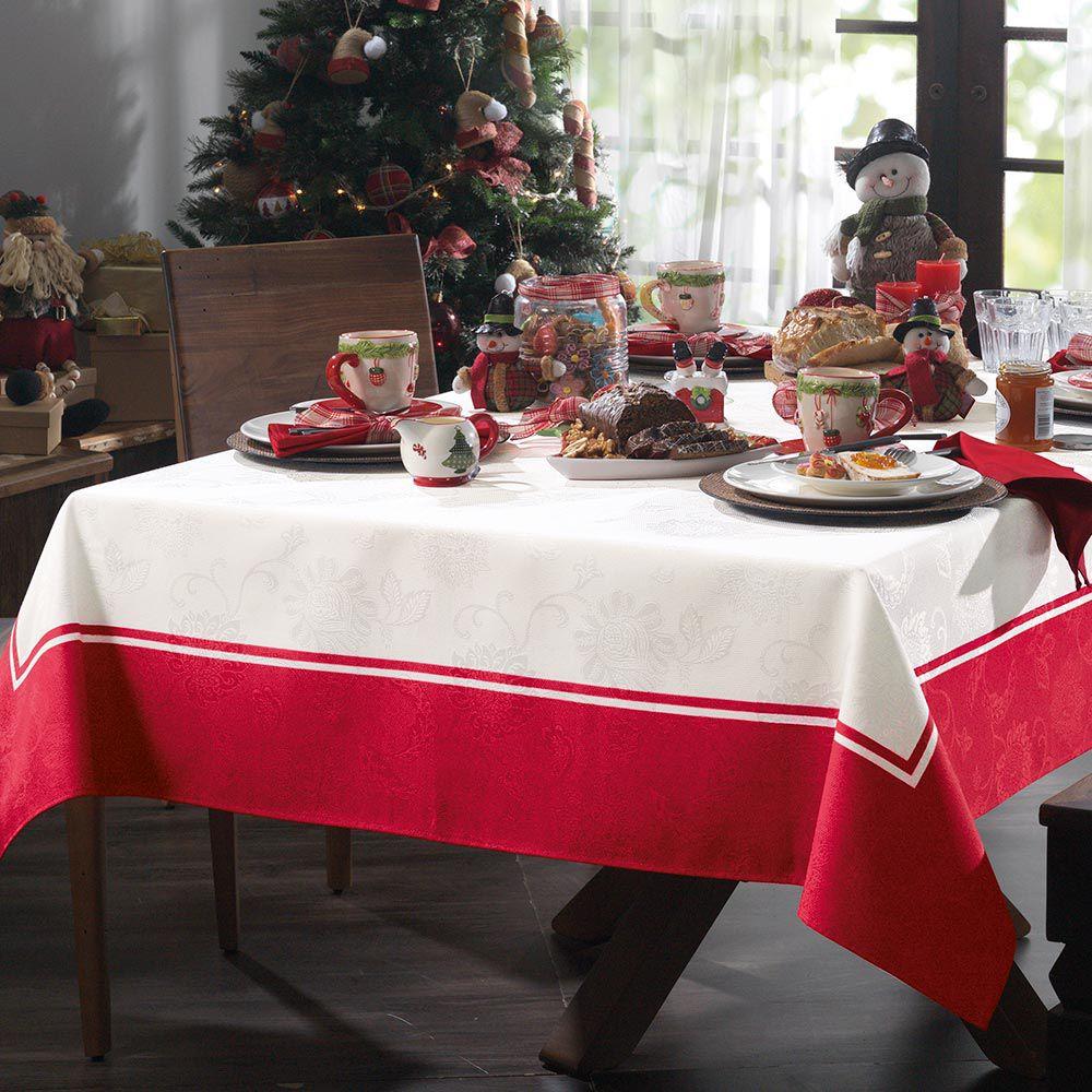 Toalha de Mesa Karsten Retangular 8 Lugares Natal Tempo de Reunir