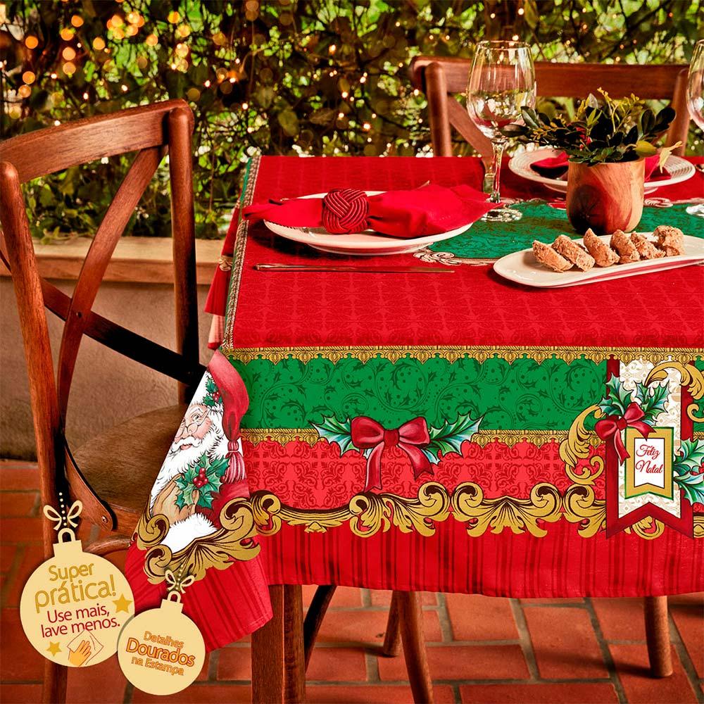 Toalha de Mesa Lepper Quadrada 4 Lugares Natal Alegrias de Natal