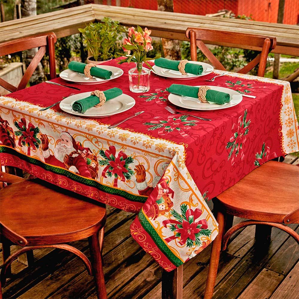 Toalha de Mesa Lepper Quadrada 4 Lugares Natal Noite Feliz