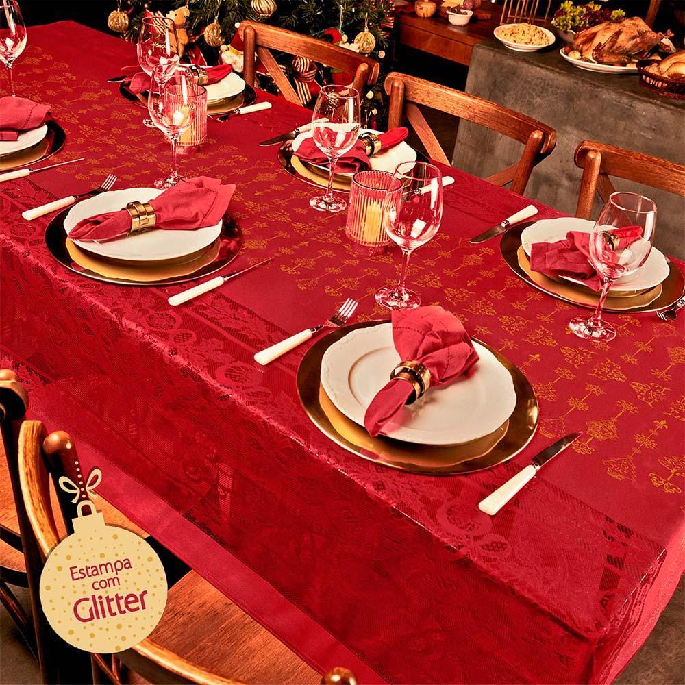 Toalha de Mesa Lepper Retangular 6 Lugares Natal Classico Natal