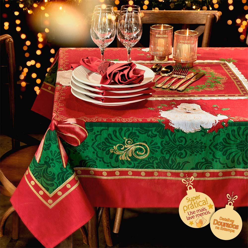 Toalha de Mesa Lepper Retangular 6 Lugares Natal Papai Noel