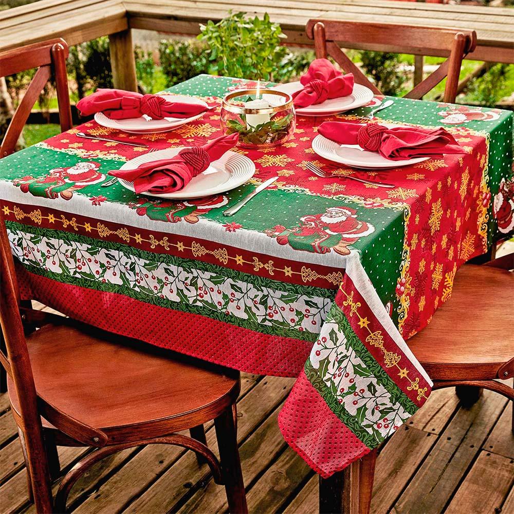 Toalha de Mesa Lepper Retangular 6 Lugares Natal Presente de Natal