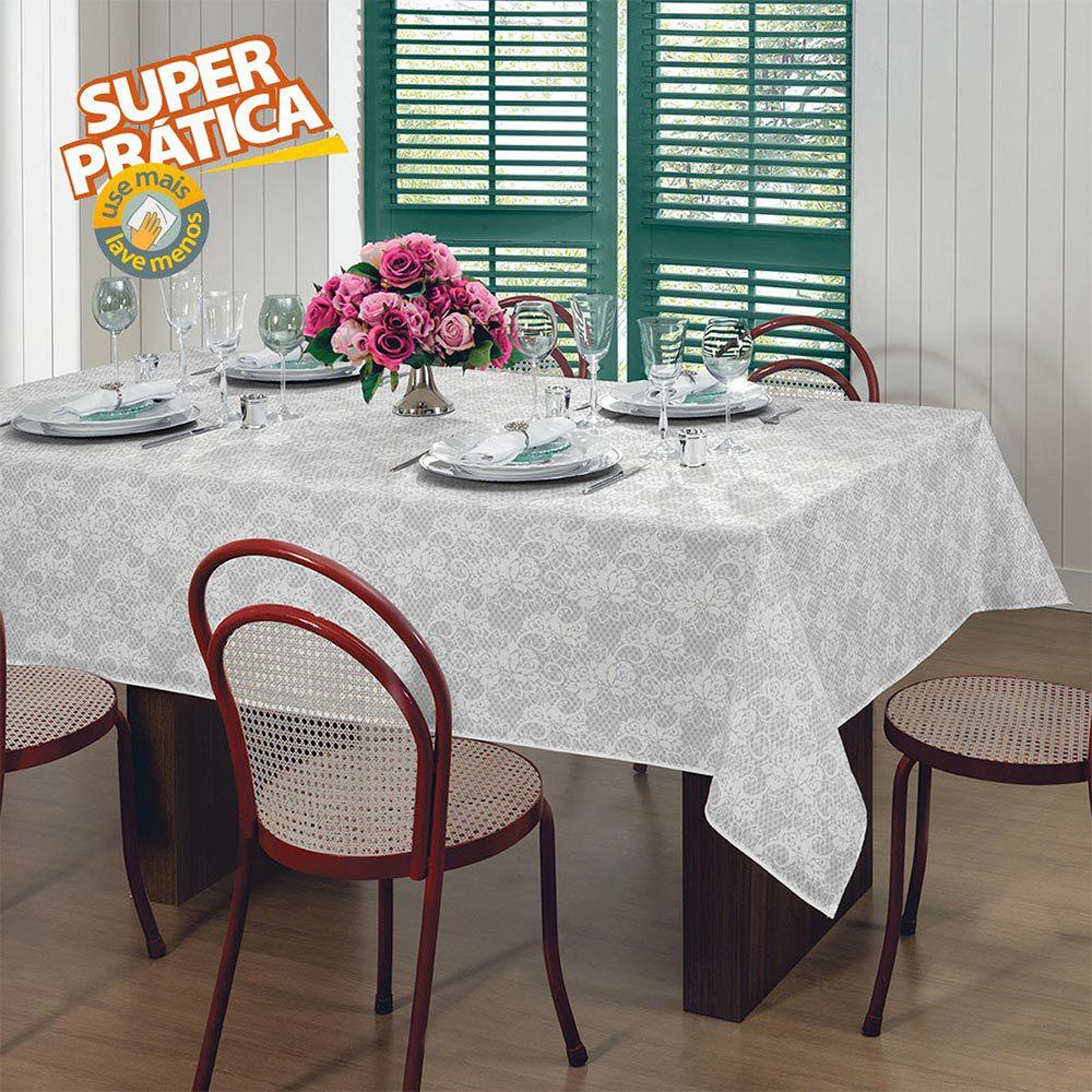 Toalha de Mesa Lepper Retangular 8 Lugares Gardenia Elegance