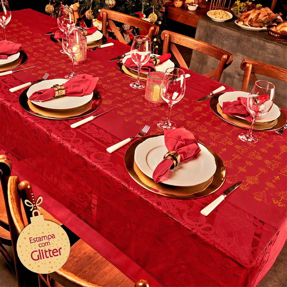 Toalha de Mesa Lepper Retangular 8 Lugares Natal Classico Natal
