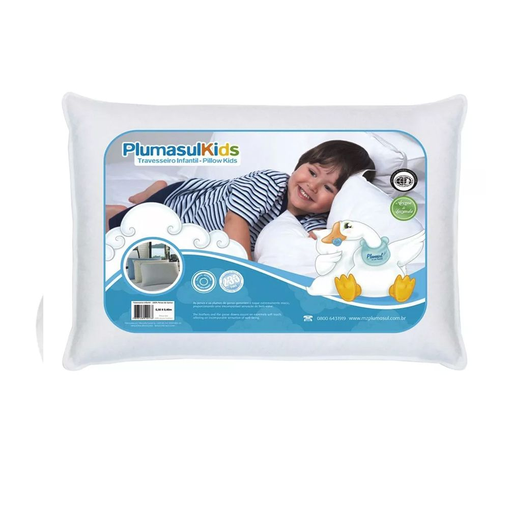 Travesseiro 50% Pluma e 50% Pena de Ganso Baby - 30x40 - Percal 233 Fios - 100%  Algodão - Plumasul