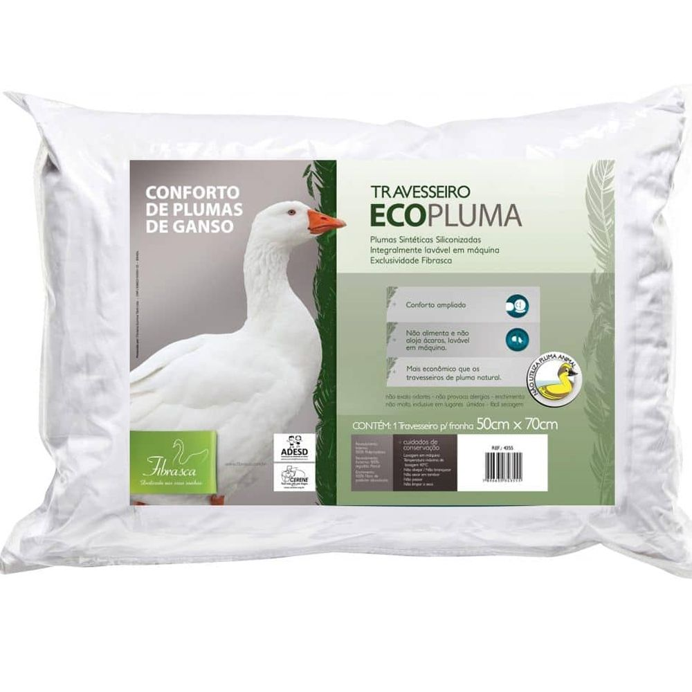 Travesseiro Fibrasca Ecopluma Branco 50x70cm