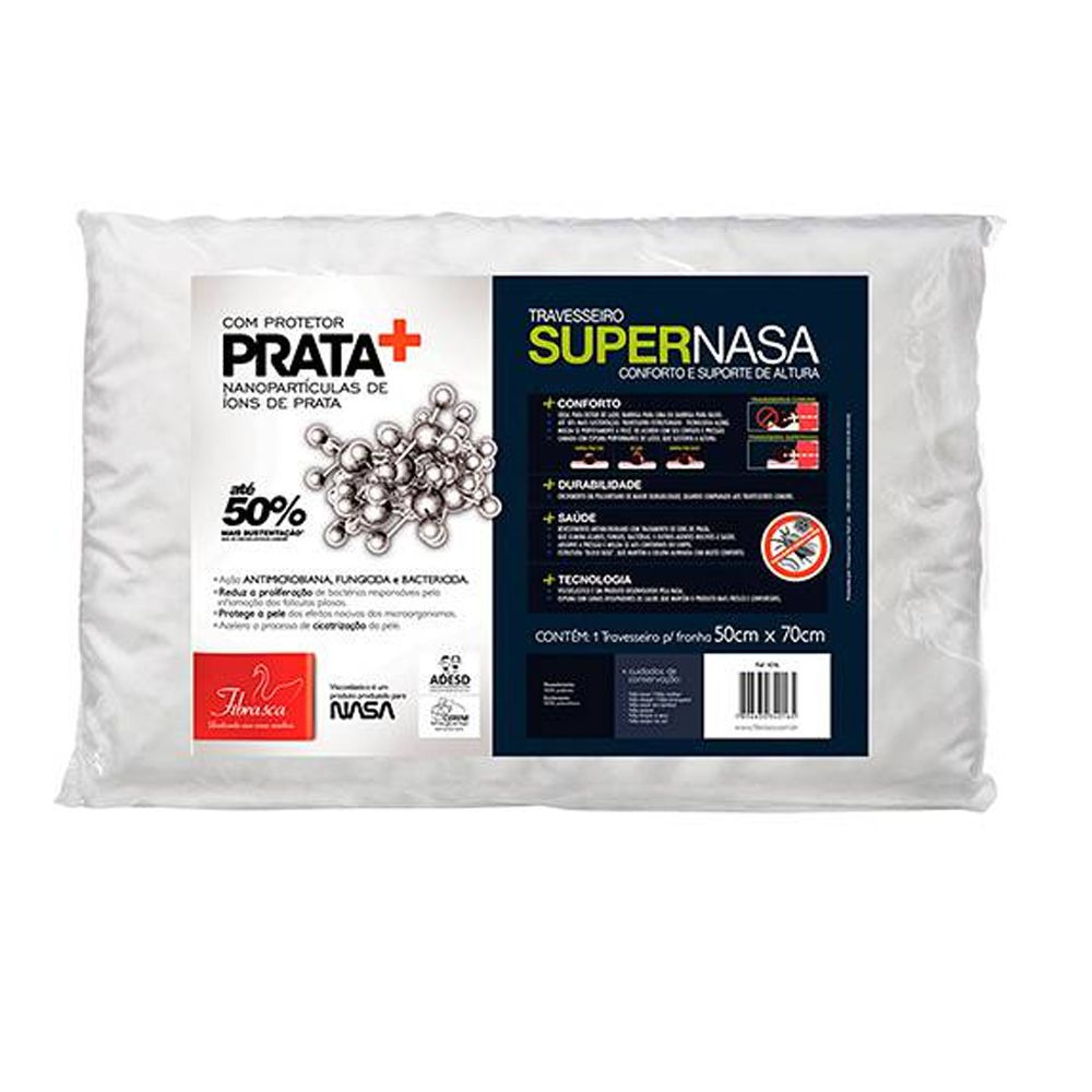 Travesseiro Fibrasca Íons de Prata 50cmx70cm Viscoelástico Fibrasca Supernasa