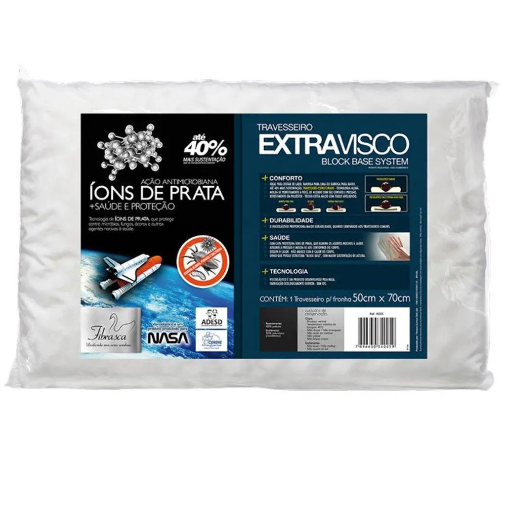 Travesseiro Fibrasca Íons de Prata para Fronha 50x70 Extravisco