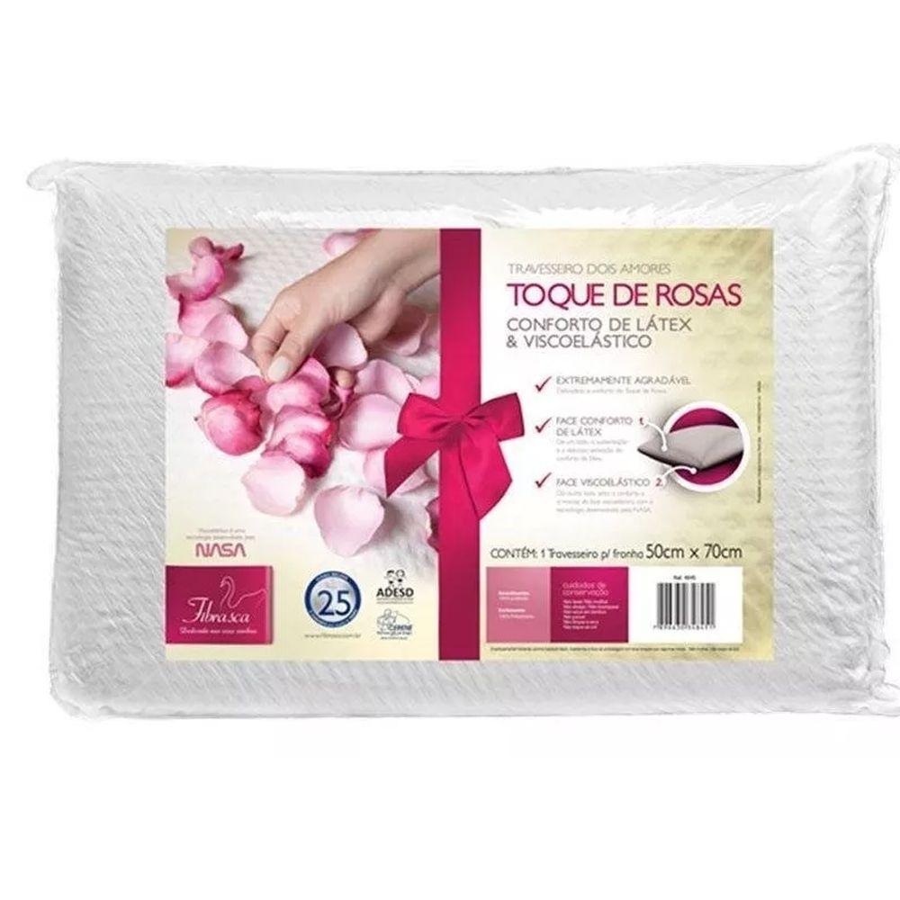 Travesseiro Fibrasca Toque de Rosas Dois Amores para Fronha 50cmx70cm