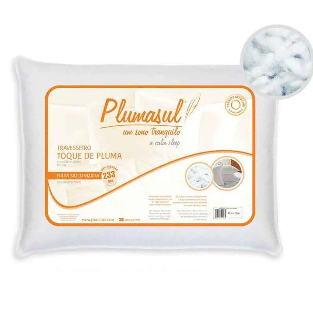 Travesseiro Plumasul Percal 233 Fios 100% Fibras Siliconizada Toque de Pluma