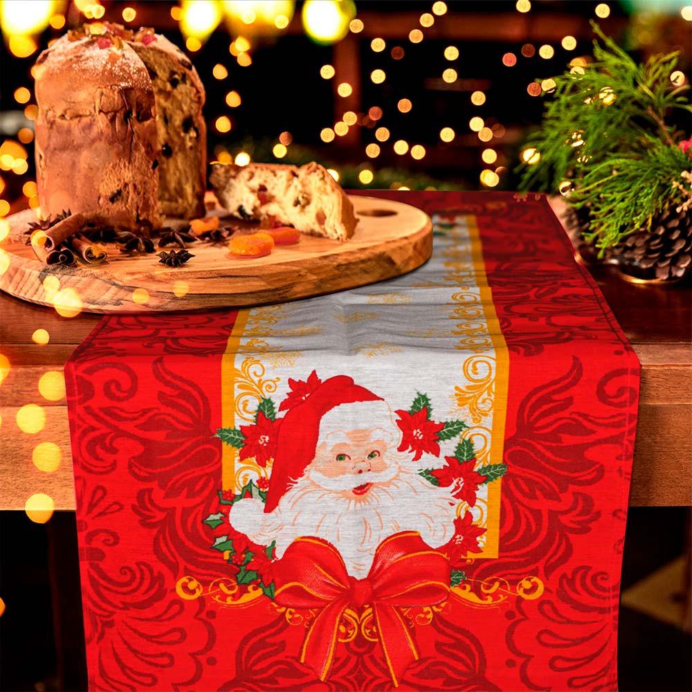 Trilho de Mesa Lepper 35cmx100cm Natal Flocos de Natal