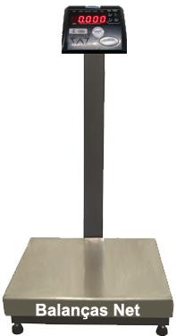 BALANÇA ELETRÔNICA INOX 50kg x 10g - 40x40cm - Industrial - Com Coluna