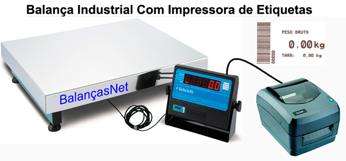 BALANÇA ELET. INOX 300kg - 50x60 - Com Impressora