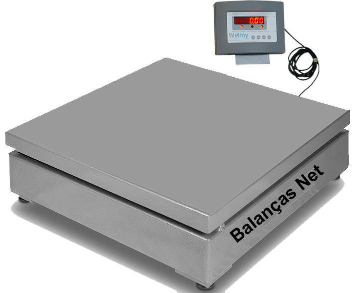 BALANÇA DE PISO 1000kg x 200g PLATAFORMA 1,00x1,00m Sem Coluna -Welmy