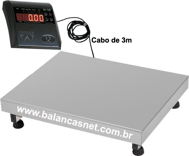 BALANÇA ELETRÔNICA INOX 150kg x 20g - 50x40cm - RAMUZA - PRONTA ENTREGA
