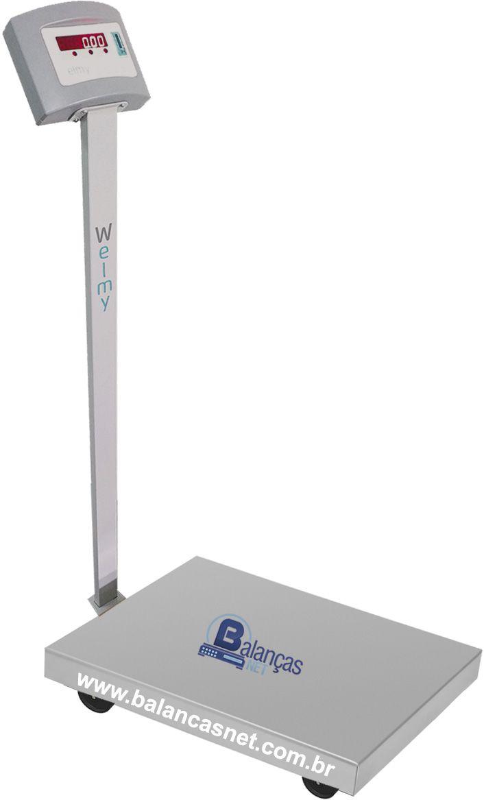 BALANÇA ELETRÔNICA INOX - 300kg x 50g - 50x60cm - Coluna, Rodas e Bateria - Welmy