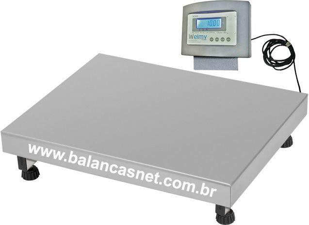 BALANÇA ELETRÔNICA INOX - 300kg x 50g - 50x60cm - Welmy