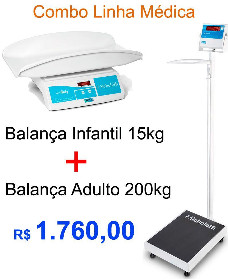 COMBO - BALANÇA INFANTIL 15kg + BALANÇA ADULTO 200kg