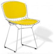 Cadeira Bertoia CROMADA com ASSENTO e ENCOSTO Amarelo