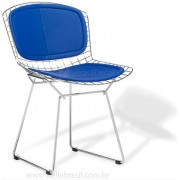 Cadeira Bertoia CROMADA com ASSENTO e ENCOSTO Azul