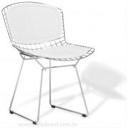 Cadeira Bertoia CROMADA com ASSENTO e ENCOSTO Branco
