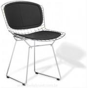 Cadeira Bertoia CROMADO com ASSENTO e ENCOSTO Preto