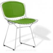 Cadeira Bertoia CROMADA com ASSENTO e ENCOSTO Verde