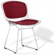 Cadeira Bertoia CROMADA com ASSENTO e ENCOSTO Vermelho