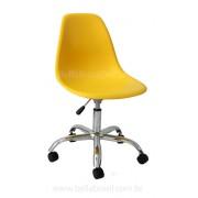 Cadeira Charles Eames DSW Giratória Cromada e Concha em Polipropileno Amarelo