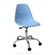 Cadeira Charles Eames DSW Giratória Cromada e Concha em Polipropileno Azul