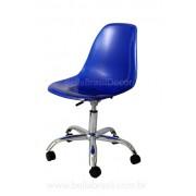Cadeira Charles Eames DSW Giratória Policarbonato Azul
