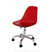 Cadeira DSW Giratória Charles Eames Policarbonato Vermelha
