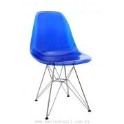 Cadeira Charles Eames Policarbonato Azul Base Cromada